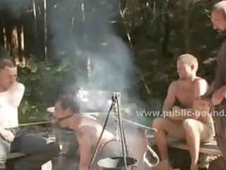 homosexual hunk tied from a tree drilled in