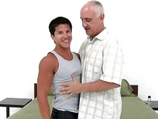 young tanned homosexual boy bangs with older gay